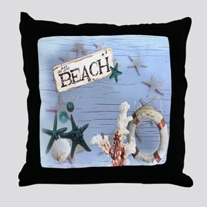 beach coral sea shells  Throw Pillow
